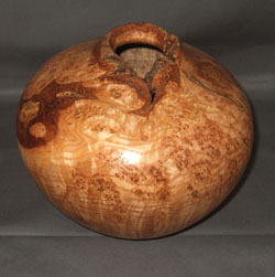 "Black ash burl hollow form (6"" tall, 6.5"" diameter; $150, sold)"