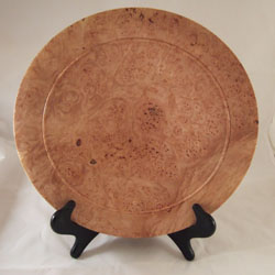 "Bigleaf maple burl platter. (13.5 x 1.5"", $150, sold)"